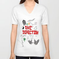 tattoos V-neck T-shirts featuring One Direction Tattoos by xanoukgeelen