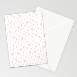Blush pink white handdrawn watercolor romantic hearts pattern Stationery Cards