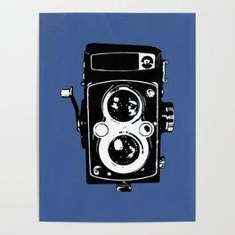 Big Vintage Camera Love - Black on Blue Background Poster