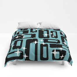 Retro Mid Century Modern Abstract Pattern 677 Black Turquoise Comforters