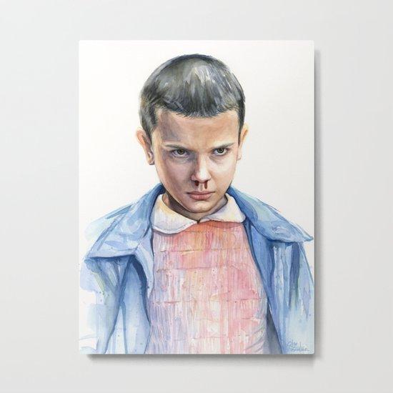 Eleven Stranger Things Watercolor Portrait Metal Print