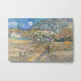 Van Gogh, Enclosed Wheat Field with Peasant Metal Print