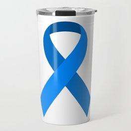 Blue Awareness Support Ribbon Travel Mug
