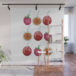 fresh fruits and cocktail rolls Wall Mural