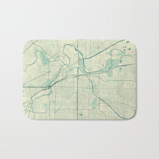 Fort Worth Map Blue Vintage Bath Mat