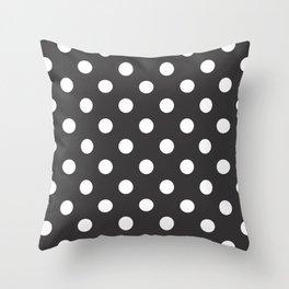 XX Large White on Dark Grey Polka Dots Throw Pillow