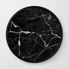 Black Suede Marble With White Lightning Veins Wall Clock