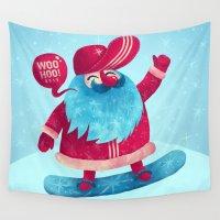 santa Wall Tapestries featuring Snowboard Santa by Lime