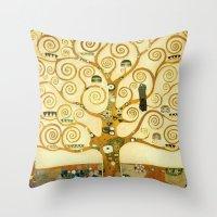 gustav klimt Throw Pillows featuring Gustav Klimt The Tree Of Life  by Art Gallery