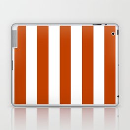 Mahogany red - solid color - white vertical lines pattern Laptop & iPad Skin