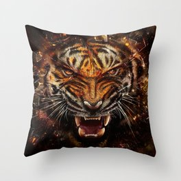 Angry Tiger Breaking Glass Yelow Throw Pillow