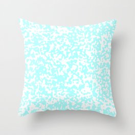 Small Spots - White and Celeste Cyan Throw Pillow