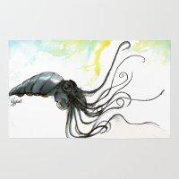 squid Area & Throw Rugs featuring Squid by Fernando Eizaguirre