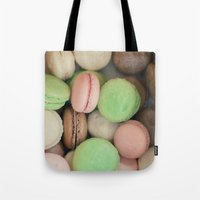 macaroons Tote Bags featuring French Macaroons by Laura Ruth