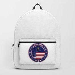Indiana, Indiana t-shirt, Indiana sticker, circle, Indiana flag, white bg Backpack