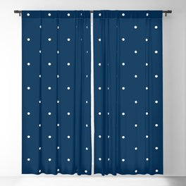 Aligned small beige dots over dark blue Blackout Curtain