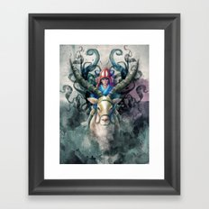 Ashitaka Demon Watercolor Digital Painting Framed Art Print