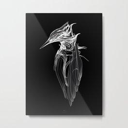 Kingfisher-1.  White on black  background-(Red eyes series) Metal Print