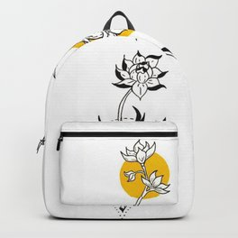 Wildflowers Circular Gold Ink Illustration Backpack