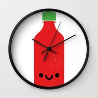 sriracha Wall Clocks featuring Tương Ớt Sriracha by Tan Nuyen