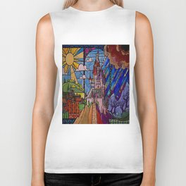ROMANCE BEAUTY AND THE BEAST Castle Stained Glass Biker Tank