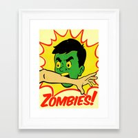 zombies Framed Art Prints featuring Zombies! by Derek Eads