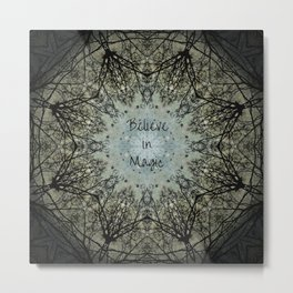 Mandala tree art, believe in magic, bare branches witch witchy wiccan inspirational sacred geometry Metal Print