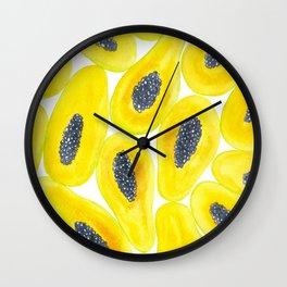 Papaya slices watercolor Wall Clock