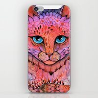 stickers iPhone & iPod Skins featuring SUNSET CAT by Ola Liola