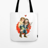 the hobbit Tote Bags featuring Hobbit Hug by Super Group Hugs