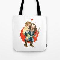 hobbit Tote Bags featuring Hobbit Hug by Super Group Hugs