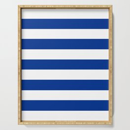 Air Force blue (USAF) -  solid color - white stripes pattern Serving Tray