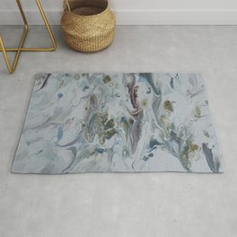 Teal, Eggplant, and Gold Marble Rug
