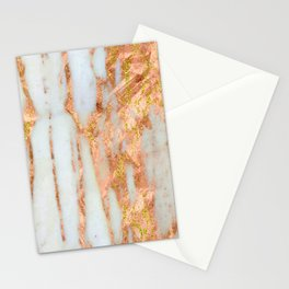 White Alabaster Marble With Flowing Gold-Glitter Veins Stationery Cards