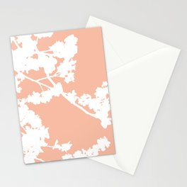 Spring Cherry Blossoms Peach Color Stationery Cards