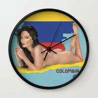 colombia Wall Clocks featuring Colombia by Kingdom Of Calm - Original Art & Illustr