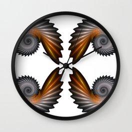 Fractal Art - Silver Spiral 4 Wall Clock
