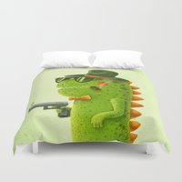 dino Duvet Covers featuring Dino bandito by Lime