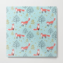 Red foxes in the blue winter forest with snow Metal Print