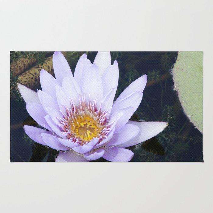 Blue Lotus Flower Rug