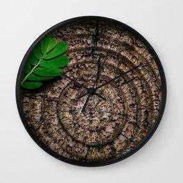 Green leaf Brown wood Wall Clock