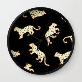 Leopard at Night Wall Clock