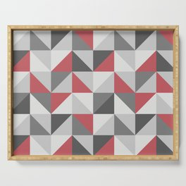 Red & gray modern geometric triangles pattern Serving Tray
