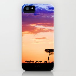Zebras at Sunset, Masai Mara iPhone Case