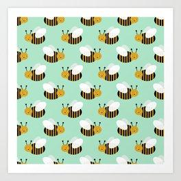 Bee pattern print mint honey bees nature inspired cute nursery kids gender neutral pattern Art Print