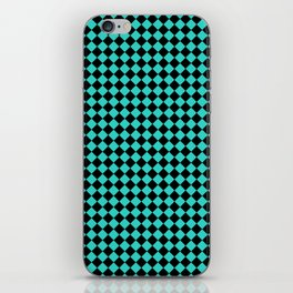 Black and Turquoise Diamonds iPhone Skin