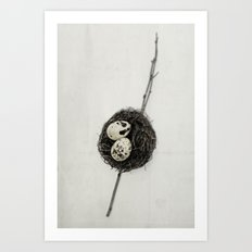 nest + speckled eggs | fig. o1 Art Print