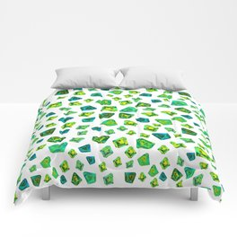 Green beautiful hand drawn gems. Comforters