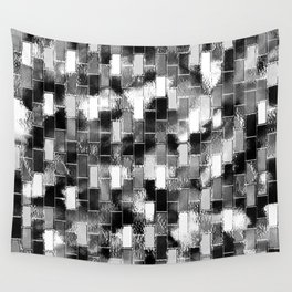 BRICK WALL SMUDGED (Black, White & Grays) Wall Tapestry