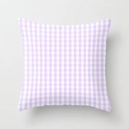 Chalky Pale Lilac Pastel and White Gingham Check Plaid Throw Pillow